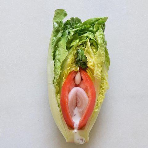 zelenina připomínající vagínu