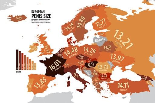 mapa velikostí penisu