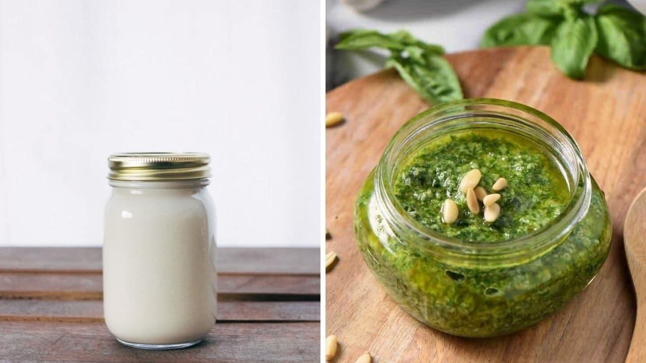 bílý jogurt a bazalkové pesto pro podporu libida