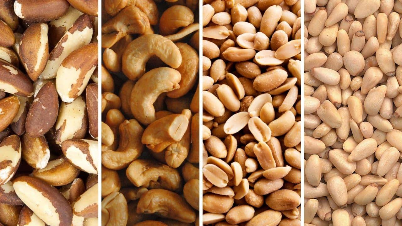 para ořechy, kešu, arašídy a piniové oříšky pro podporu libida
