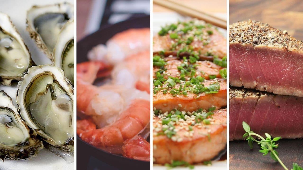 ustřice, krevety, tuňák a losos pro podporu libida