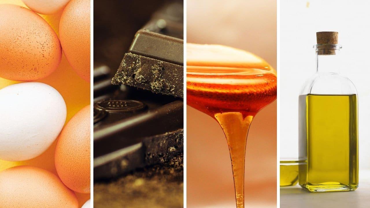 vejce. hořká čokoláda, med a olivový olej pro podporu libida