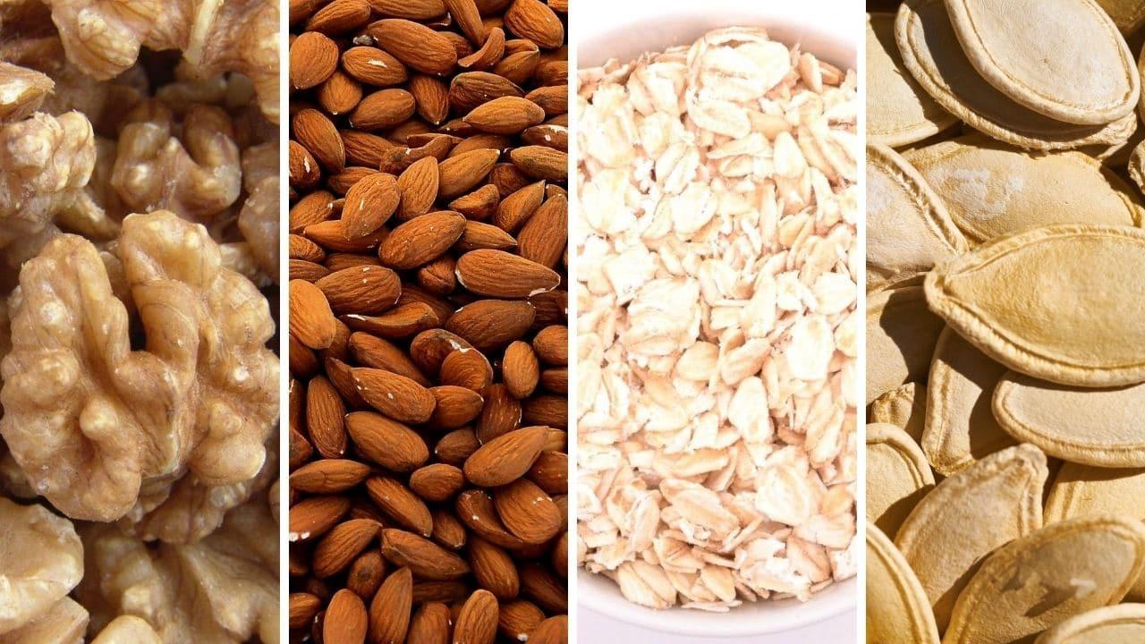 vlašský ořech, mandle, ovesné vločky, dýňová semínka pro podporu libida